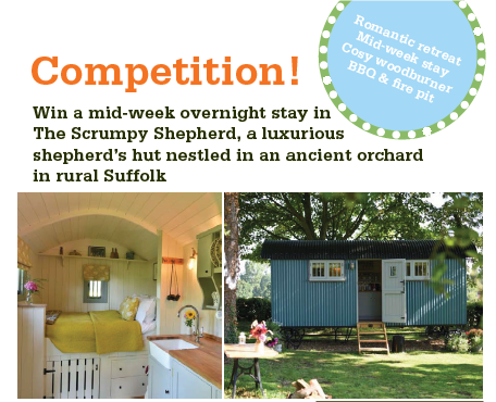 Win a mid-week overnight stay in The Scrumpy Shepherd, a luxurious shepherd's hut nestled in an ancient orchard in rural Suffolk.